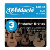 D'Addario EJ16-3D Phosphor Bronze Light Acoustic Guitar Strings