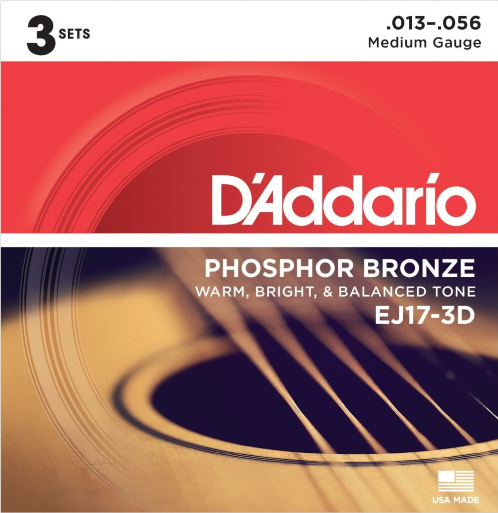 D'Addario EJ17-3D Phosphor Bronze Acoustic Guitar Strings